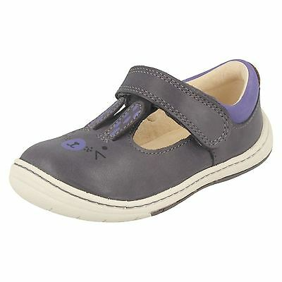 Girls Clarks Amelio Glo Fst Anthracite Leather First Walking Shoes