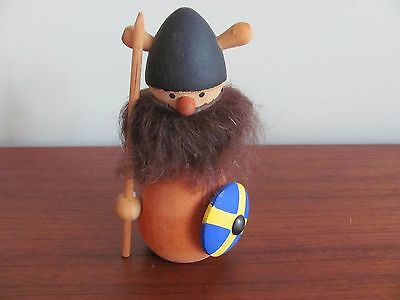 Vintage MCM WOOD VIKING FIGURINE SWEDEN Beard #1373 Scandinavian Warrior 4.75""