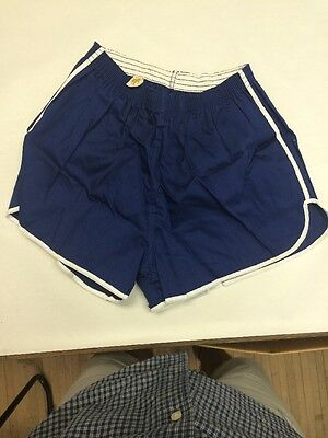 Vintage 60s XL100 % Cotton Gym Shorts Made In The USA Size Xl Navy