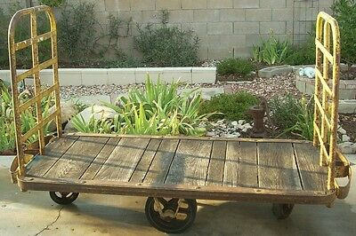 Lot 16 authentic vintage industrial carts- steampunk heavy duty steel wood cart