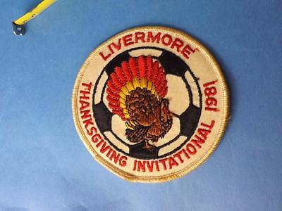 Patch Badge Livermore Thanksgiving Invitational 1981 Soccer Ball Turkey