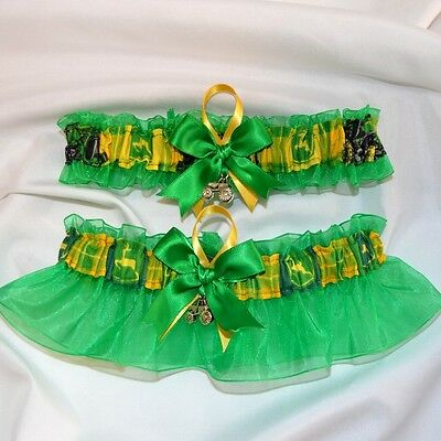 Wedding Garters John Deere fabric - set toss keepsake