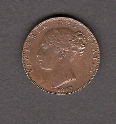 1847 Great Britain One Farthing Coin in AU Condition