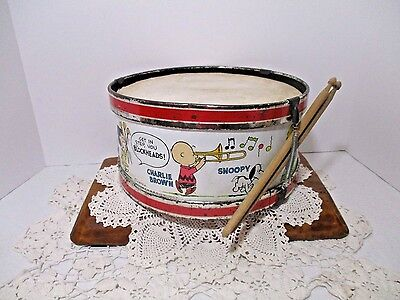 """Vintage Peanuts Marching Band & Good Grief Society 11"""" Drum Chein 1963"""