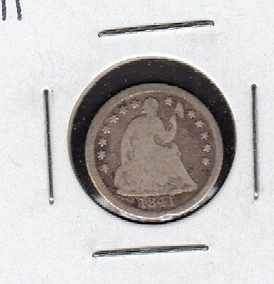 US 1841 Seated Liberty Half Dime Silver Coin in VG Very Good Condition