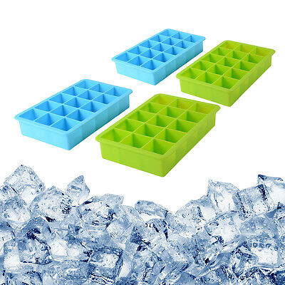4pcs 15-Cavity Soft Silicone Chocolate Ice Cube Tray Flexible Mold Maker HS971