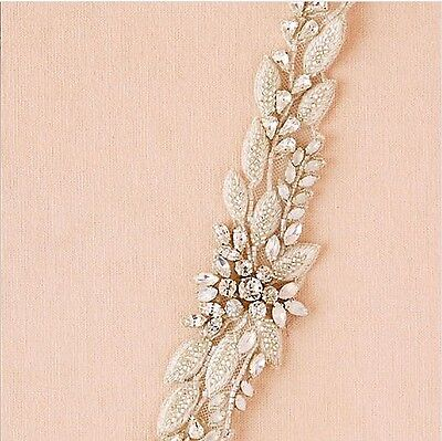 BHLDN  Osmonda Fitted Jeweled Bridal Belt in  Ivory/Silver/opal Size M