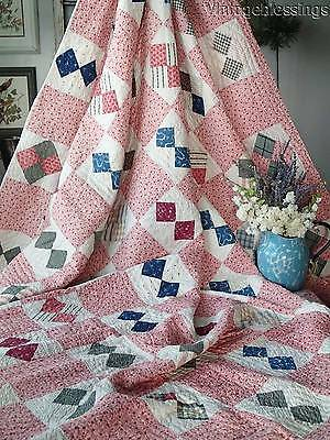 "ANTIQUE c1880 FARMHOUSE Four Patch QUILT 90"" x 78"""