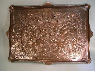 Antique Copper Tray. Arts & Crafts Hand Beaten Tray. Mythical Beasts C.1900  (5)