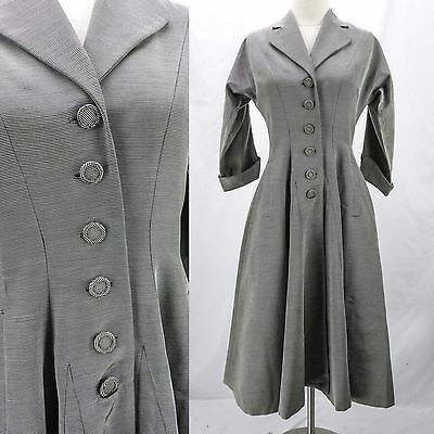 Vintage 40s New Look Princess Fit Flare Full Skirt Silver Ribbed Dress Coat S