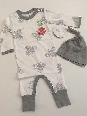 Burts Bees Baby Boy Organic Sleeper Coverall Hat Set Size 6 Months Grey Layette
