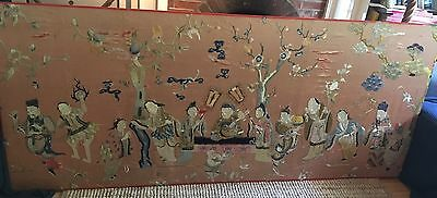 Large Antique Chinese Silk Embroidered Panel Wall Hanging Robe Immortals