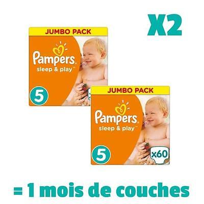 PAMPERS SLEEP & PLAY Taille 5 - 120 couches - Pack 1 mois