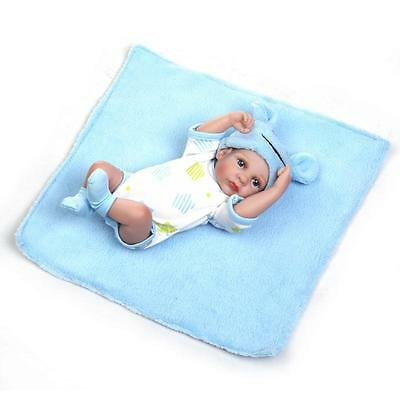 "Mini 10"" Baby Doll Boy Reborn Vinyl Silicone Lifelike Handmade Newborn w/clothes"