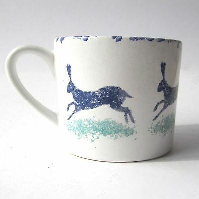 HINCHCLIFFE and BARBER SAVILLE POTTERY Hare Mug DORSET DELFT Sponge Ware 1980s