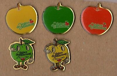 lot de 5 pin's / Fruits des vergers de Moismont (époxy)