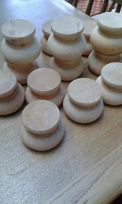 4 x wooden bun feet - Height approx 65mm each- (Large quantity available)