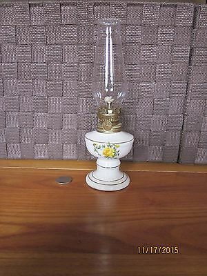 Oil lamp ceramic footed white multi color floral gold trim clear glass top Japan