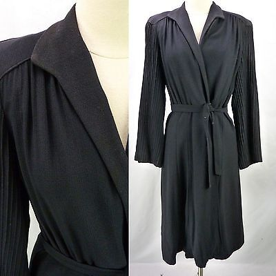 Vtg 40s Navy Wool Crepe Structured Pleated Tie-Waist Duster Coat Wrap Jacket M