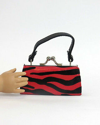18 Doll Clothes Black Red Zebra Print Purse For American Girl