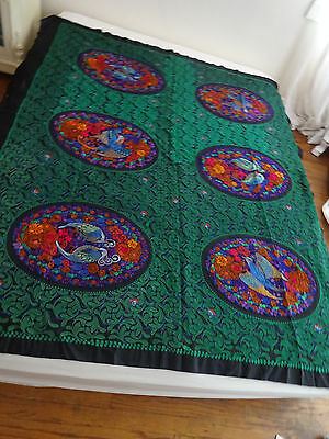 Vintage Antique Chinese Silk Hand Embroidered Canton Tapestry Piano Shawl