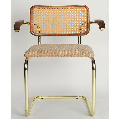 Breuer Arm Chair with Padded Seat & Cane Back