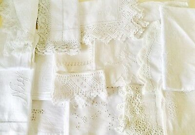 Lot Of Vintage & Antique White Linen Cloths Embroidered Lace Etc