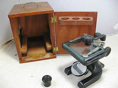 Antique Spencer Microscope Viewer with 2 Lenses & Wood Case Buffalo USA