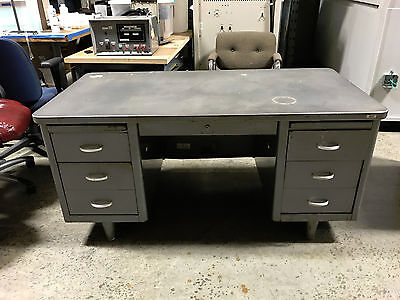 Vintage Industrial steel double tanker desk