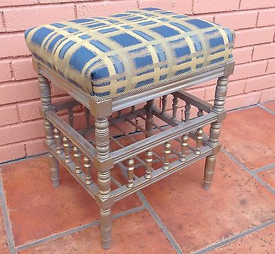 Vintage stool lovely refinished in grey /gold Retro ideal dressing table or hall