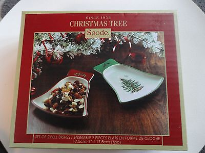 NIB....Spode Christmas Tree Set of 2 Bell Dishes