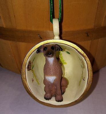 "Victorian Trading Co 2"" Basenji Pinecone Teacup Christmas Ornament Free Ship NIB"