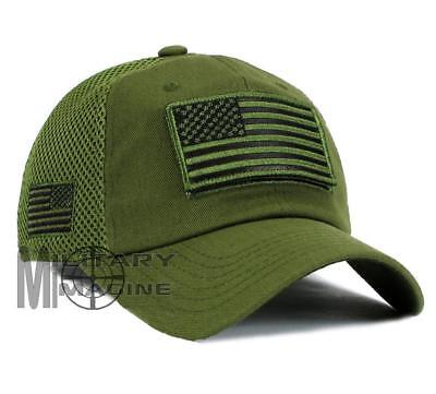 f1ea6c14 USA American Flag Hat OD Green Detachable Patch Micro Mesh Tactical Cap