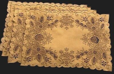 Exceptional Four Placemats Richly Embroidered, Reticella, Drownwork, Cutwork