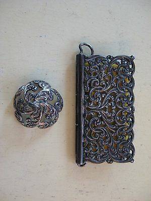 Antique Sterling Filigree Note Card/needle Case Pin Cushion Cap Chatelaine 2 Pcs