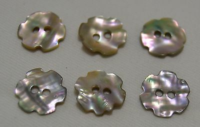 Antique MOTHER of PEARL FLOWER CUT SHELL BUTTONS * FREE SHIPPING *