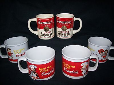 Campbells Soup Mugs (4) and Vintage Campbell's Soup Cups (2) Lot of 6 BEAUTIFUL