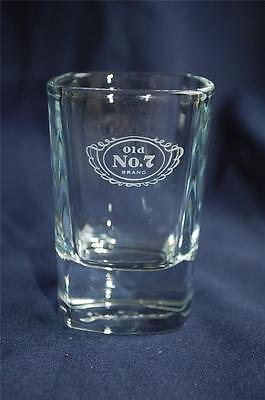 """Jack Daniels """"Old No.7 Brand"""" Tennessee Whiskey Square Shot Glass Signed Bottom"""