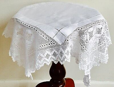 Vintage Antique Linen & Lace Table Cloth