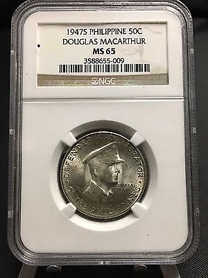 1947-S Philippines Silver 50c MacArthur Commemorative NGC MS65 (534)