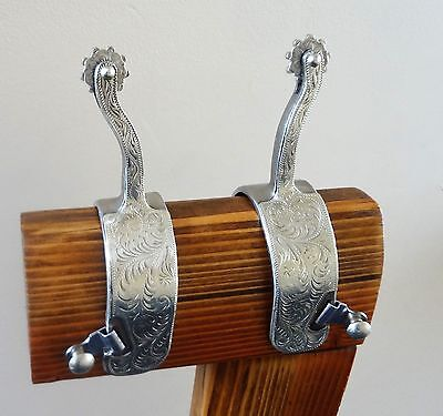Vintage Engraved Overlay Cutting Horse Spurs w/ Spur Straps