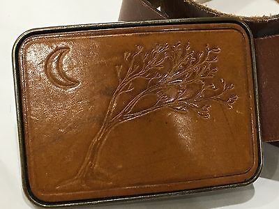 VTG Wide Leather Belt & Tooled Leather Moon Tree Hippie Boho Buckle 32