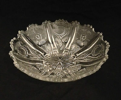 EAPG Clear Floral Paneled Thistle & Star Pressed Glass Toed Foote Bowl