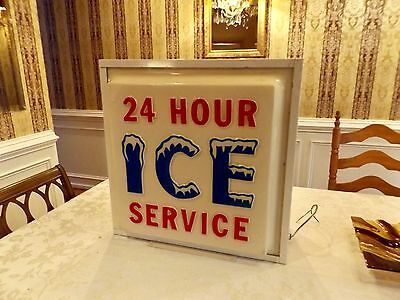 Awesome Vintage Advertising Lighted ICE Machine sign from Gas Station / 2 sided