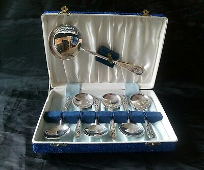 Set 7 Vintage Silver Plated Soup Spoons Eugene Leclere Boxed Inc Serving Spoon