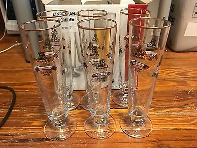 Lindemans Lambic Beer Tall Glasses by Sahm Belgium Footed 260 ml Set of 6