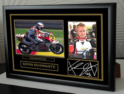 """Kevin Schwantz Motor Cycle Framed Canvas Signed """"Great Gift"""" #3"""