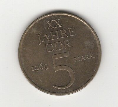 1969 5 Mark Jahre DDR German Coin