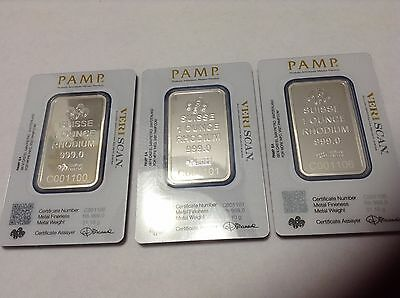 3 X ONE 1 OUNCE RHODIUM PAMP SUISSE BARS SPECTROMETER AUTHENTICATED~W/SERIAL #s!