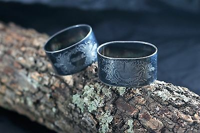2 Antique Silverplate Oval Napkin Rings~Lovely set with bird engravings